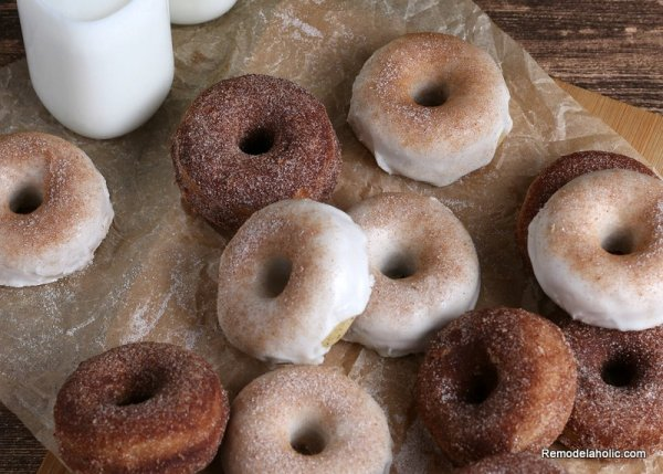 Apple Cider Donuts With Glazed Cinnamon Sugar Coating, Recipe Remodelaholic