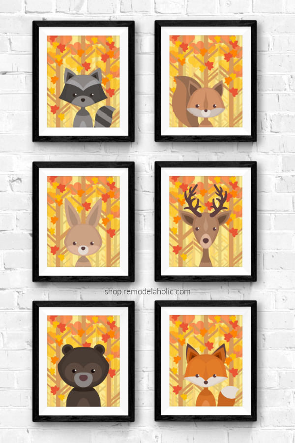 Autumn Fall Leaves Woodland Animal Nursery Art Set Printable Remodelaholic