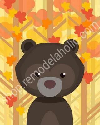 Autumn Fall Woodland Animal Nursery Art - Bear