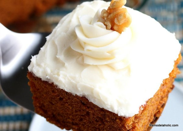 Best Ever Pumpkin Cake Recipe With Cream Cheese Frosting Remodelaholic