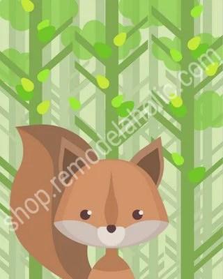 Green Summer Woodland Animal Nursery Art Squirrel