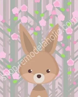 Pink Spring Woodland Animal Nursery Art Bunny Rabbit