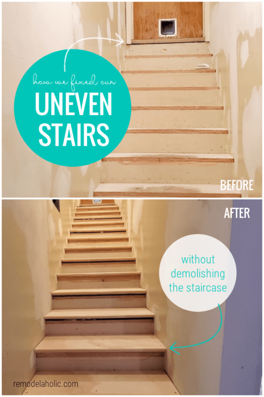 Fix Uneven Stairs Without Demolishing Staircase, Basement Stairway Remodel #remodelaholic