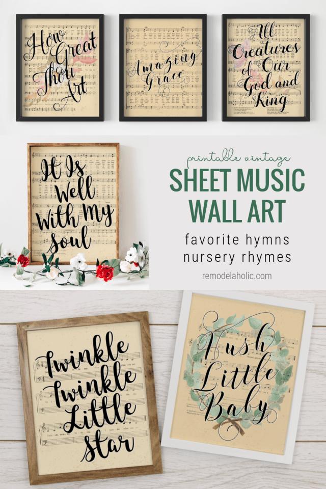 Printable Vintage Sheet Music Wall Art, Easter Hymn Lyrics Nursery Rhymes, Remodelaholic