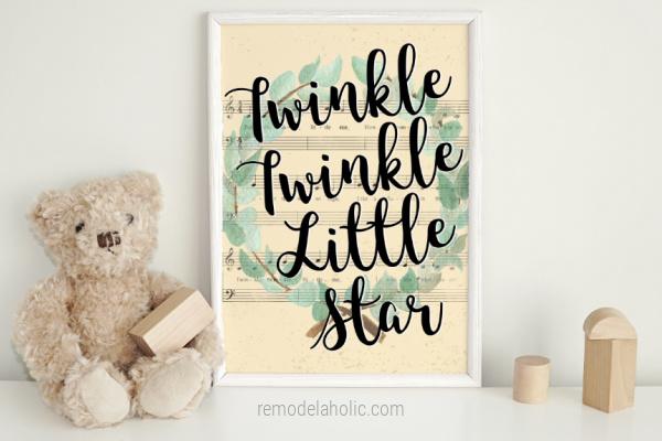 Twinkle Little Star Nursery Rhyme Song Lyrics Vintage Sheet Music Art Printable For Nursery, Remodelaholic