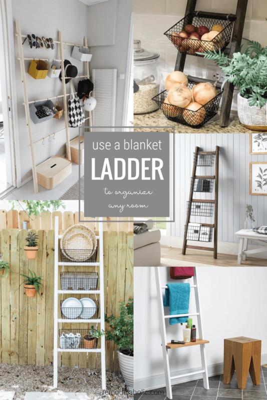 Blanket Ladder Organizing Ideas With Baskets Shelves And Hooks #remodelaholic