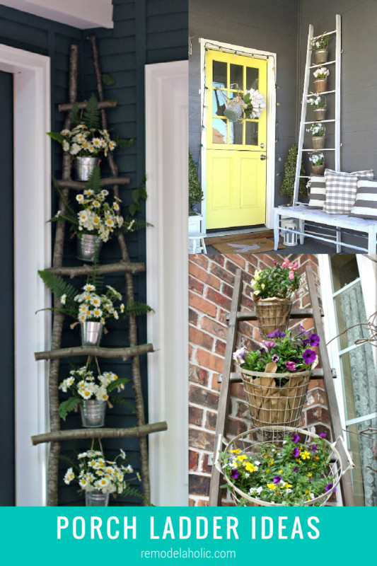 Easy Porch Ladder Ideas For Decorating An Outdoor Wood Ladder With Flowers And More Remodelaholic