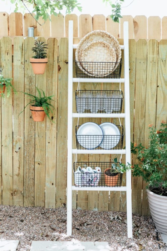 Outdoor Dining Ladder Organizer Decor, Love And Renovations