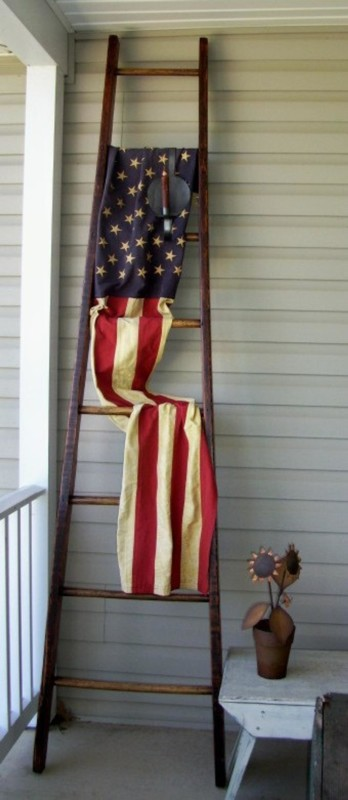 Refinished Wooden Orchard Ladder With Flag For Summer Porch Decor, Via Etsy