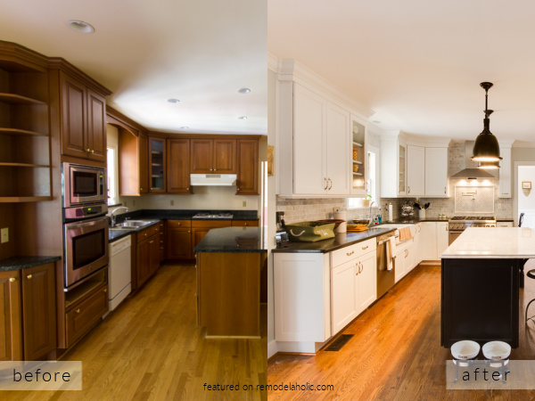 Brown Wood Kitchen Remodel Into Open Bright White Kitchen, Before And After Cobblestone On Remodelaholic