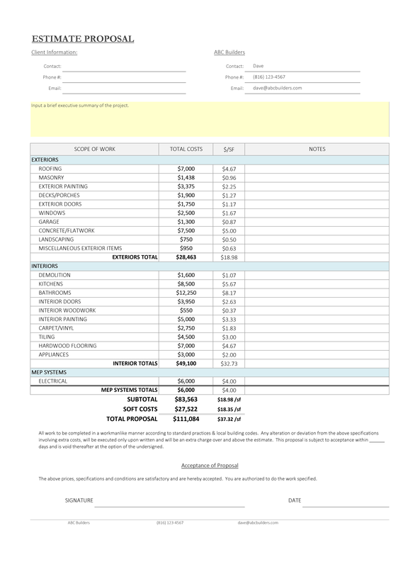 remodel estimating spreadsheet