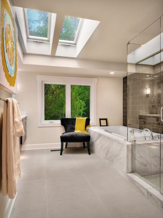 Bathroom with skylights for natural lighting
