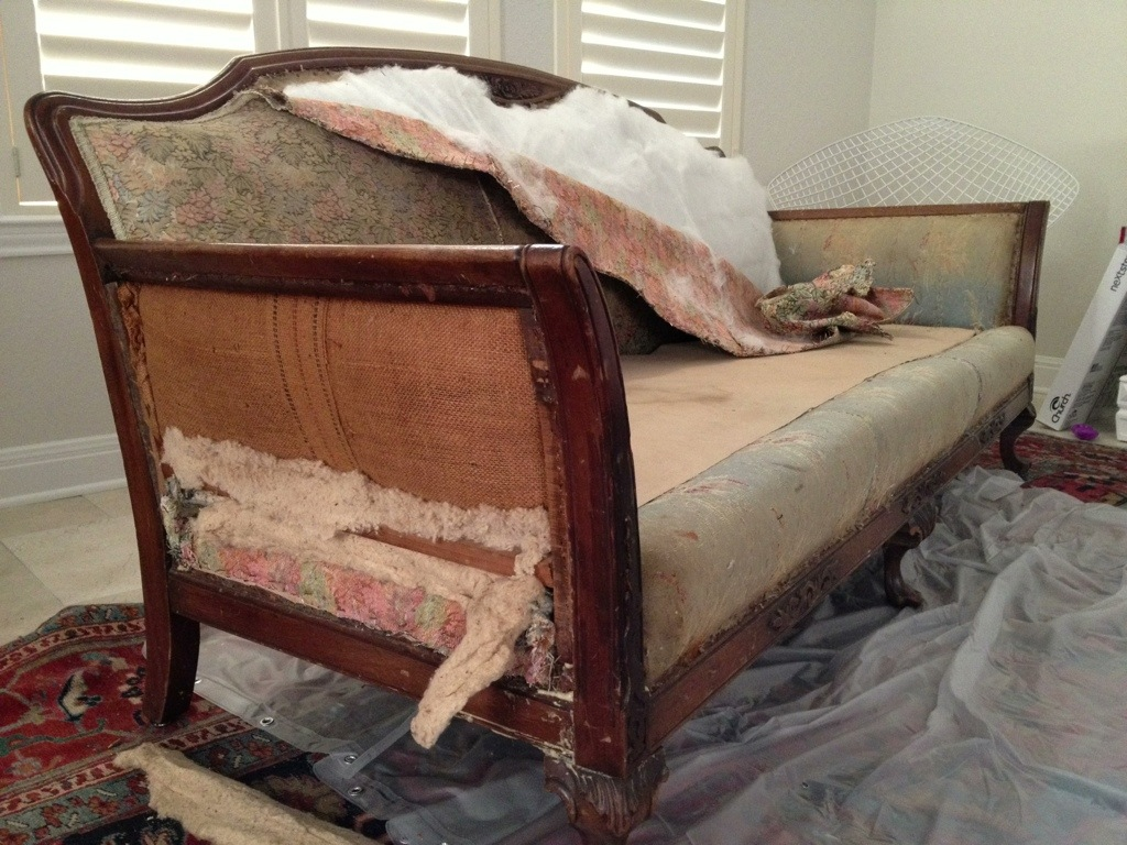 Re-Upholstering an Antique Sofa