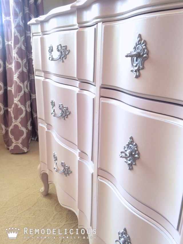 French Provincial dresser make-over. Pretty, subtle purple with silver leaf + paint sprayer GIVEAWAY!   Remodelicious