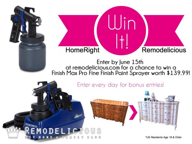 Enter to win a FREE HomeRight Finish Max Pro Fine Finish Paint Sprayer now through June 30th!!!   Remodelicious.com