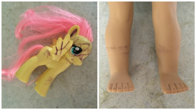 How to remove pen marks or other dark stains from your American Girl Doll or My Little Pony.