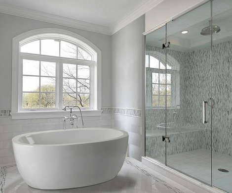 A freestanding bathtub, white