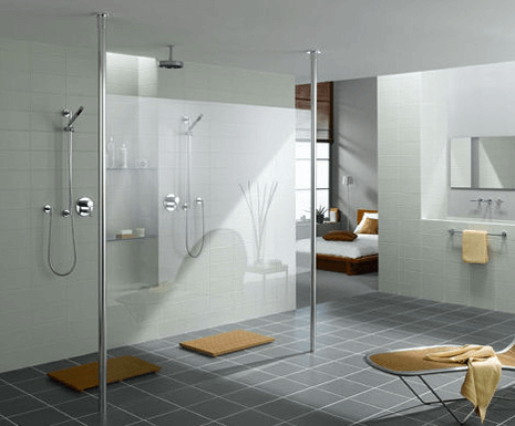 Large walk in shower, white and grey modern bathroom design