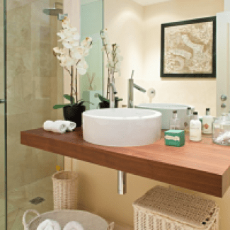 Modern White Bathroom Decor with a White Orchid