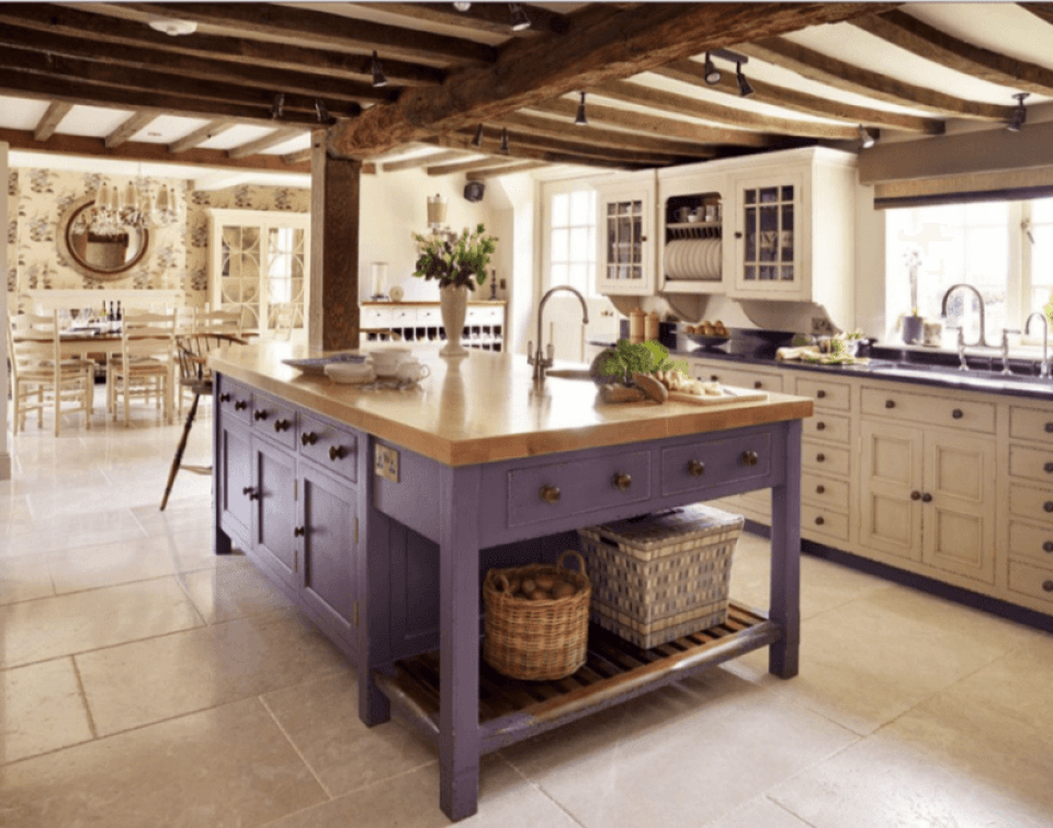 Purple, Rustic Kitchen Island With Butcher Block Countertop in a classic French Country style white kichen