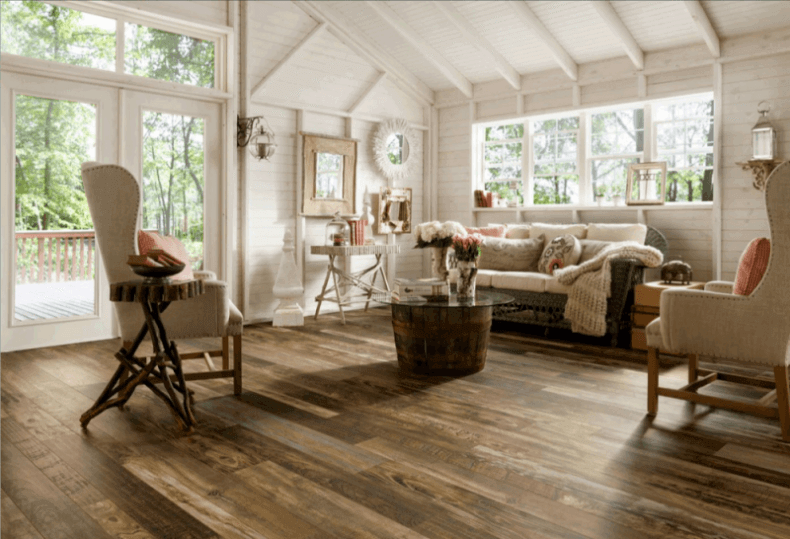 living room floor ideas brown sofas 15 reclaimed wood flooring for every design hardwood floors in a farmhouse style
