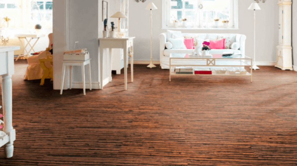 Cork Flooring in a White Traditional Living Room