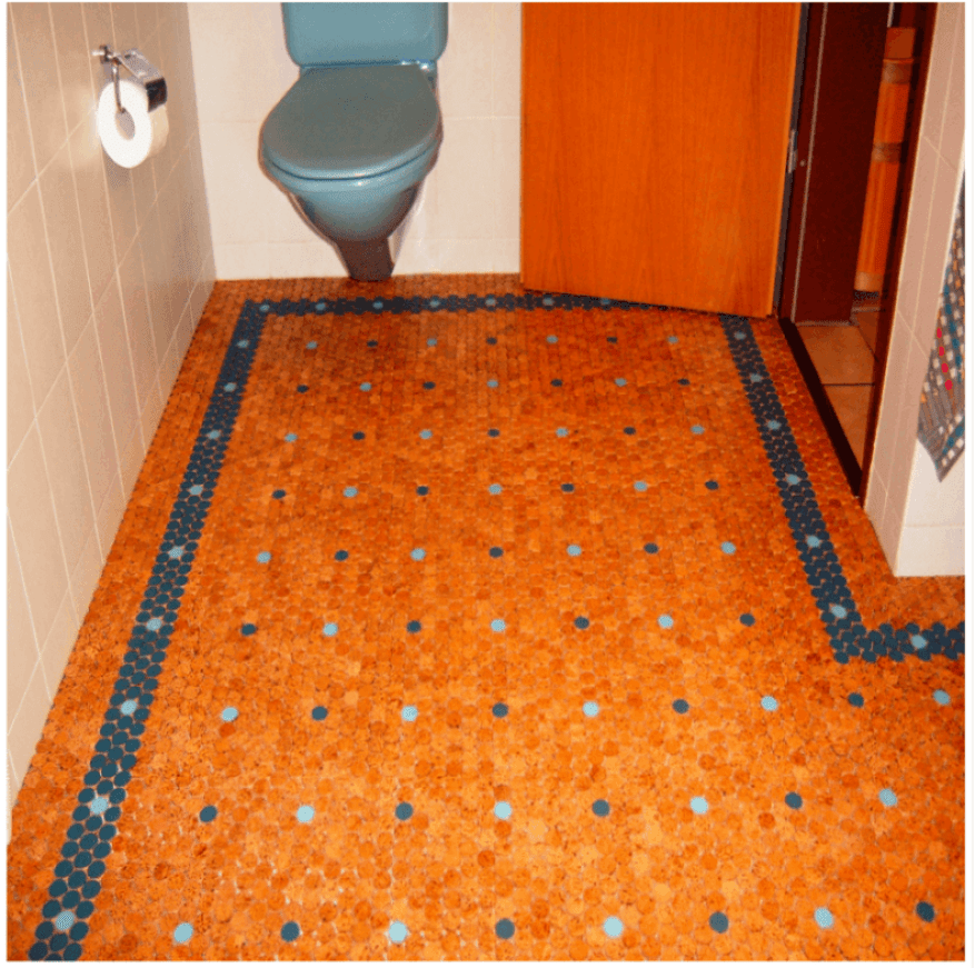 Orange and Blue Cork Tiles in a Bathroom