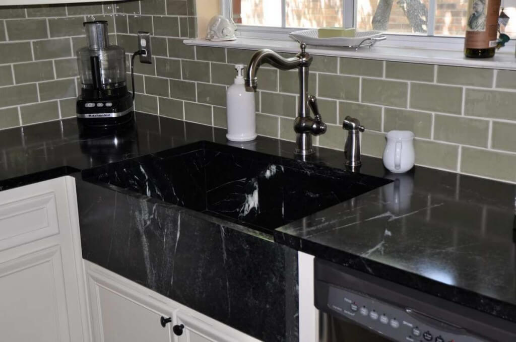 black kitchen sink cabinets paint colors the best sinks 9 materials you will love soapstone