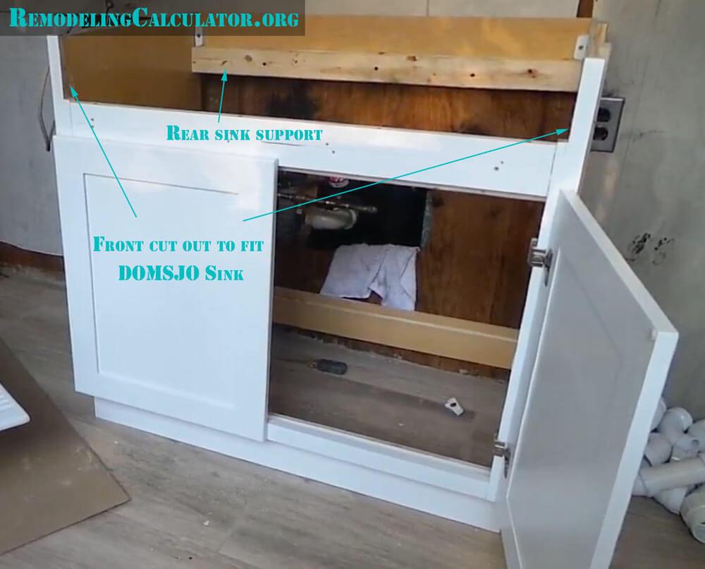ikea kitchen counters teal rugs domsjo sink in non-ikea cabinet - diy ...