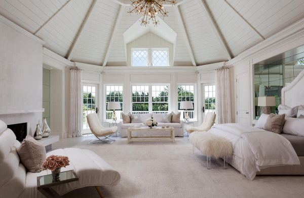 Country style master bedroom with trim