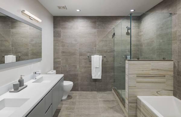 Hydronic heated floors under ceramic bathroom tile