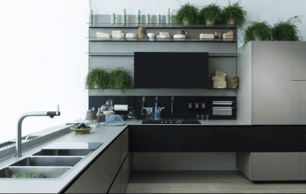Kitchen Cabinets integrated with countertops using Fenix NTM material