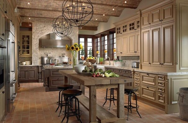 Kitchen Island Lighting In a Tuscan Style Kitchen
