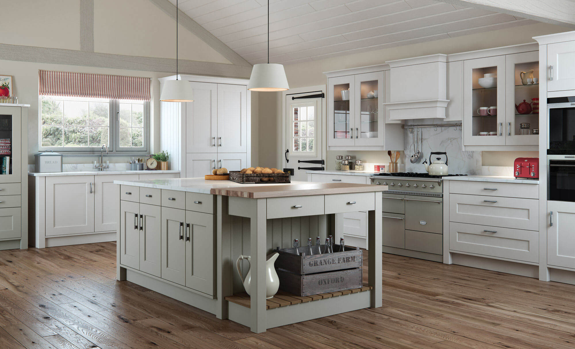 Light grey kitchen cabinets in a country style kitchen ...