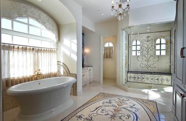 Luxury Master Bathroom with Mosaic Tile Design