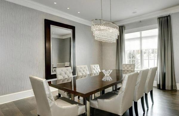 Modern dining room with white trim
