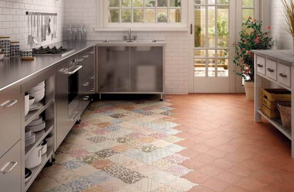 New tile flooring in the kitchen
