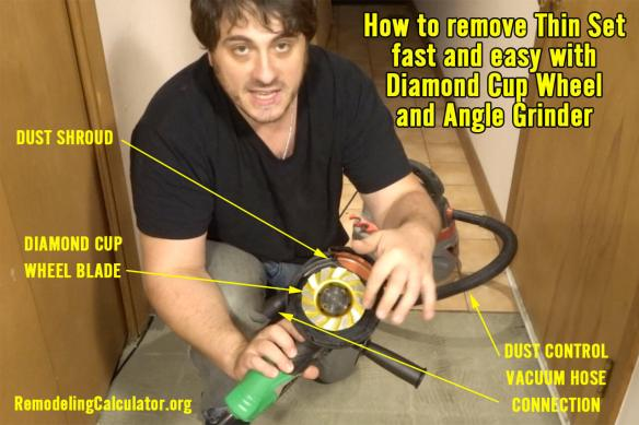 How To Remove Thin Set From Plywood With Diamond Cup Wheel Dust Shroud Video Guide Remodeling Cost Calculator