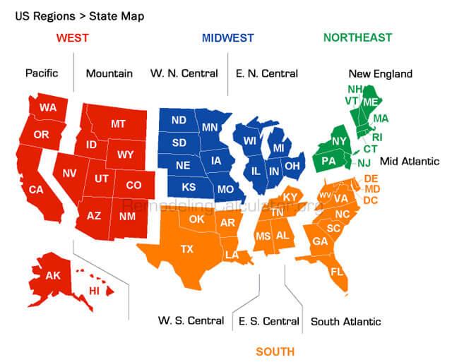 US States / Regions Map - Remodel Calculator