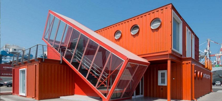 Big shipping container house with exterior stairs