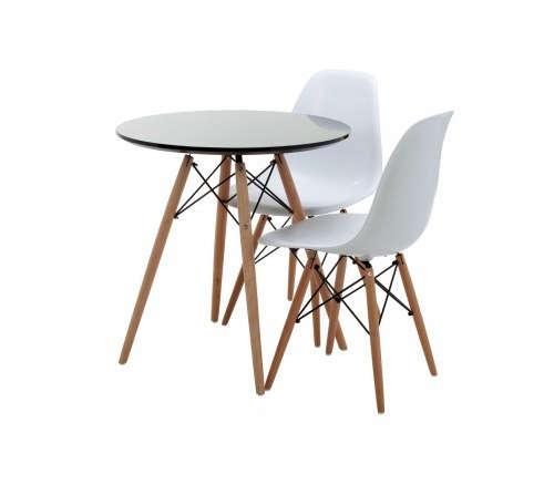 replica eames round wood leg table