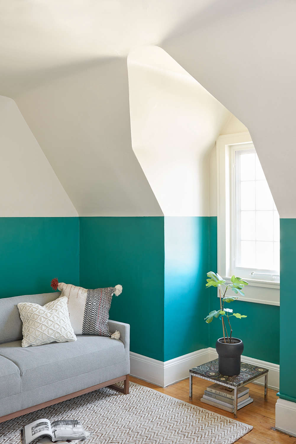 west elm sofa sleeper ottoman fold out single bed a vibrant office update from farrow & ball - remodelista