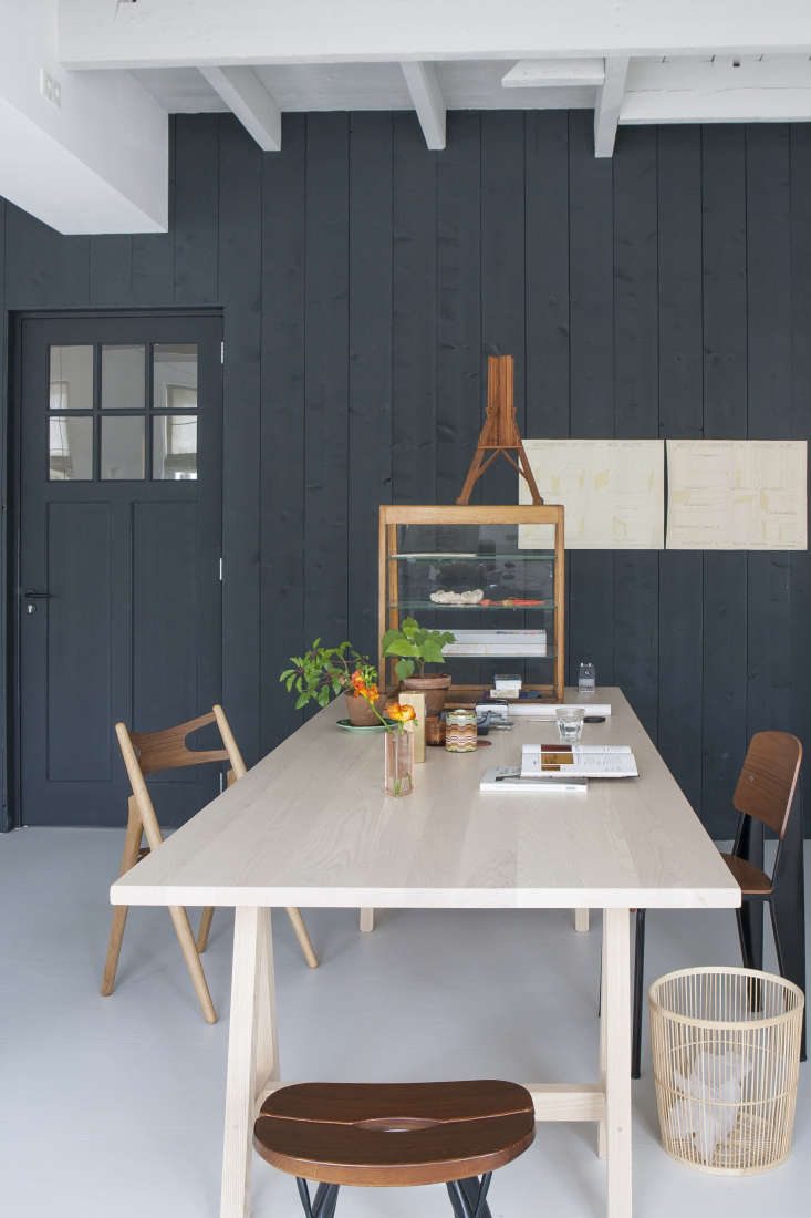 Dining/work table by Dutch interior designer Christen Starkenburg of Interieur-Plus at Jan de Jong, her family's design shop in Friesland, the Netherlands | Remodelista