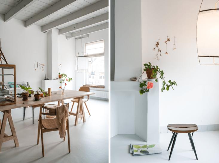 The working studio of Dutch interior designer Christen Starkenburg of Interieur-Plus at Jan de Jong, her family's design shop in Friesland, the Netherlands | Remodelista