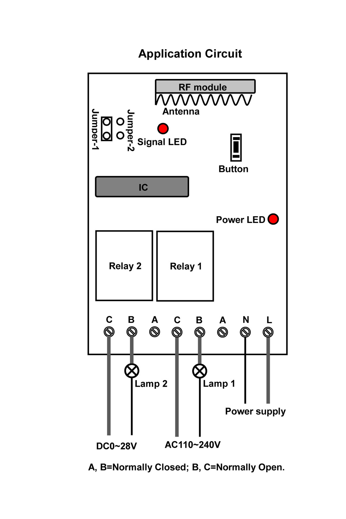 wireless remote control two different voltages equipment