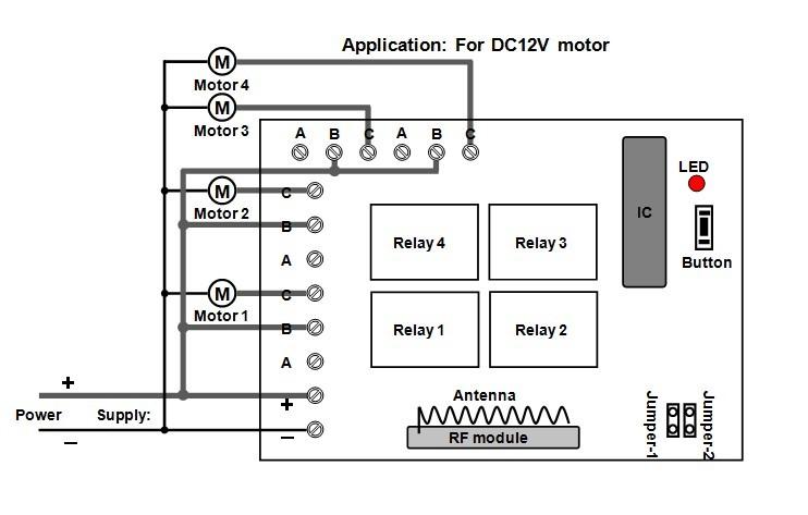 Wireless remote control 4 DC motors