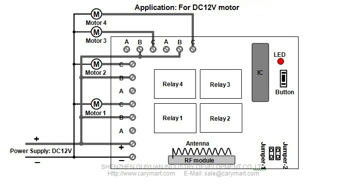 Wireless remote control 4 DC 12V motors within 2000m