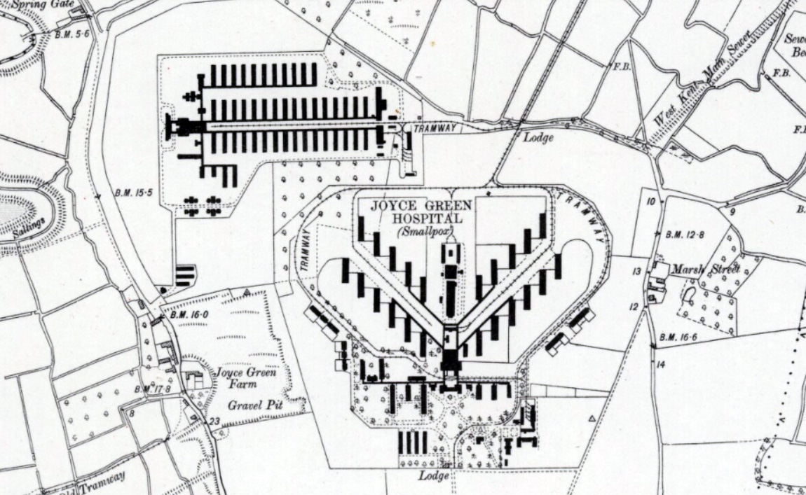1915 map of Dartford Marshes showing Joyce Green Hospital and the Orchard. For full map see: https://maps.nls.uk/view/102342320