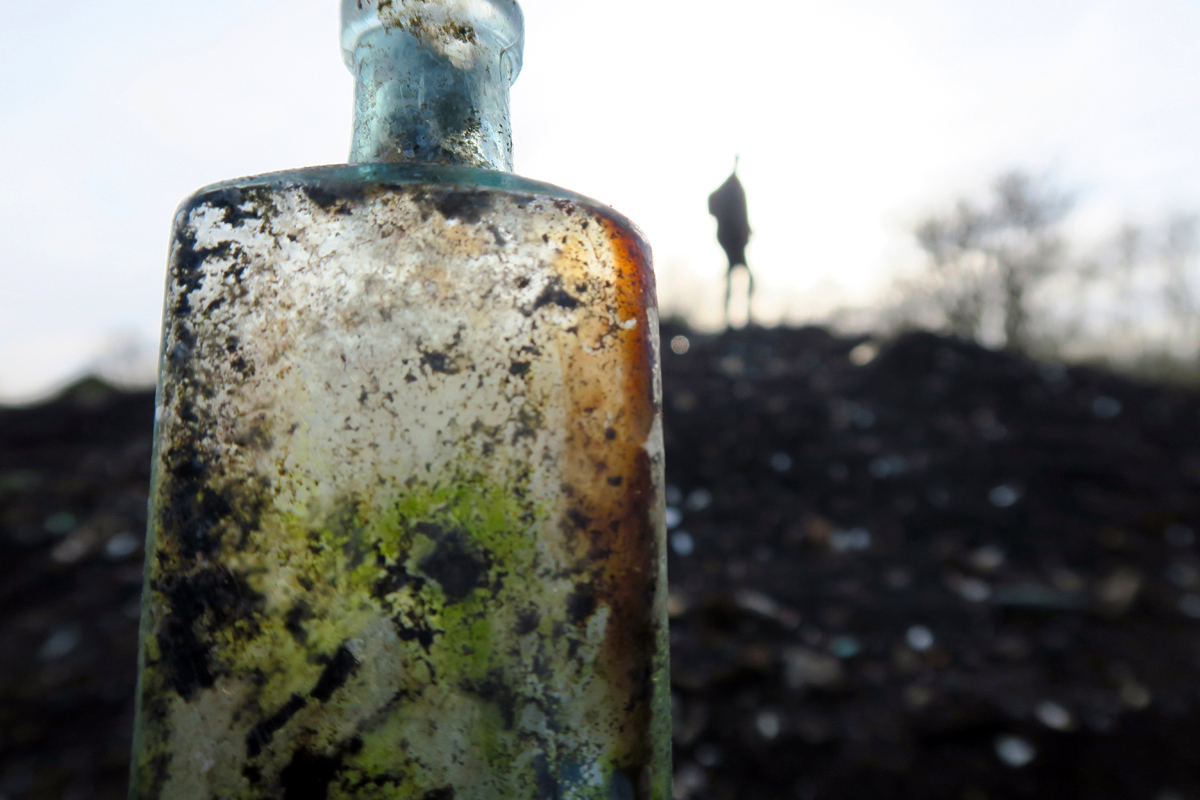 A close up photograph of a landfill bottle with a distant, warped silhouette of my walking companion.