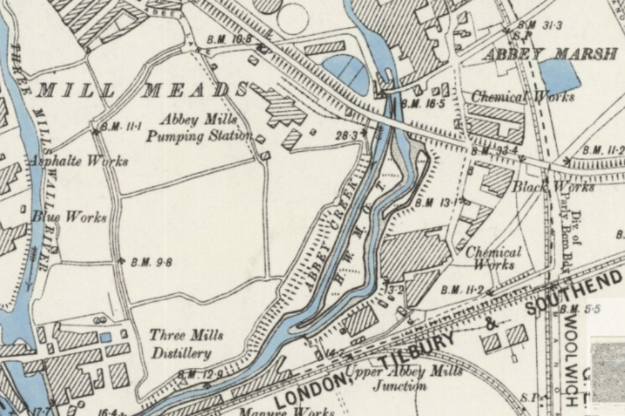 OS Map of 1898 showing Abbey Mills Pumping Station and the island